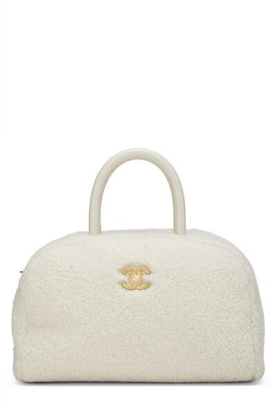 White Shearling Coco Bowling Bag