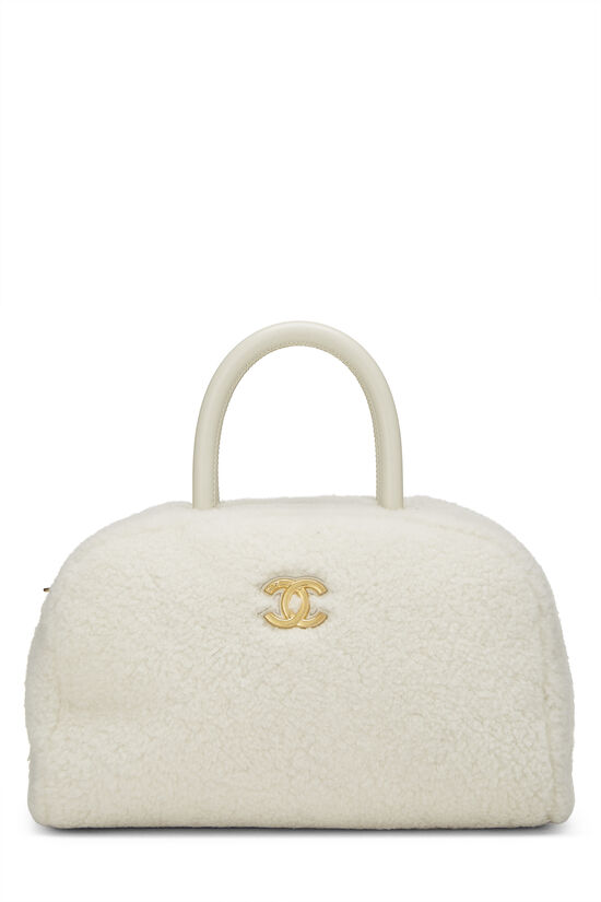 White Shearling Coco Bowling Bag, , large image number 0