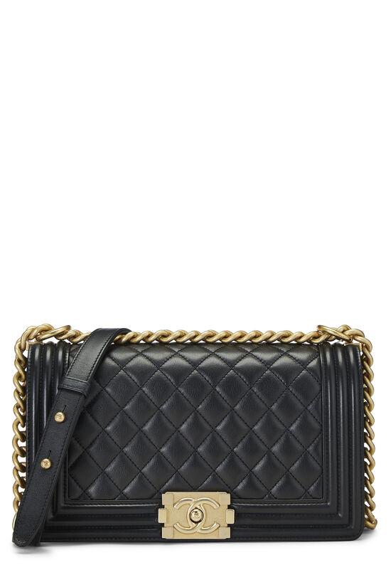 Black Quilted Lambskin Boy Bag Medium, , large image number 0