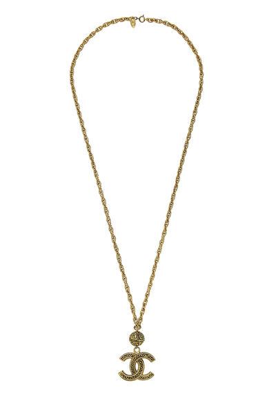 Gold Filigree 'CC' Necklace