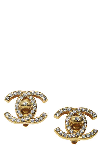 Gold & Crystal 'CC' Turnlock Earrings Large