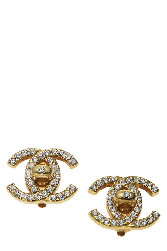 Gold & Crystal 'CC' Turnlock Earrings Large, , large image number 0