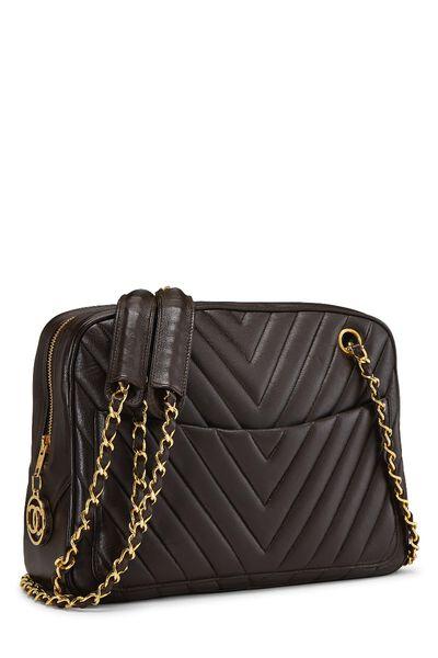 Brown Chevron Lambskin Shoulder Bag, , large