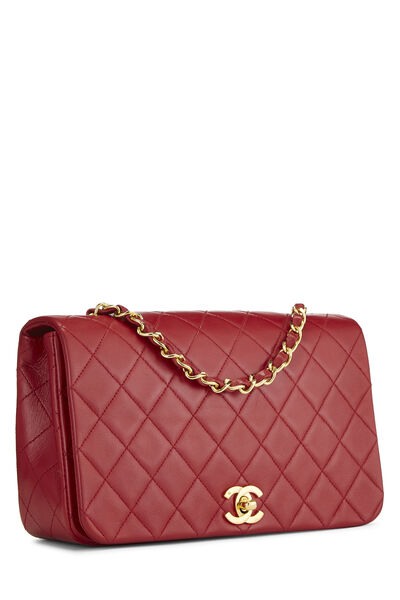 Red Quilted Lambskin Full Flap Small, , large