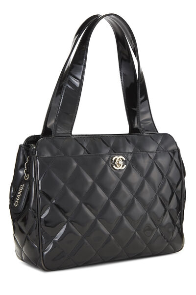 Black Quilted Patent Leather Tote Small, , large