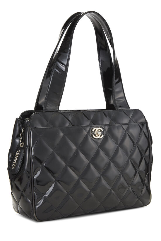 Black Quilted Patent Leather Tote Small, , large image number 1
