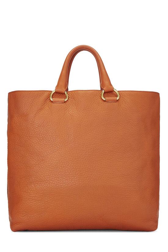 Orange Vitello Daino Shopping Tote, , large image number 3