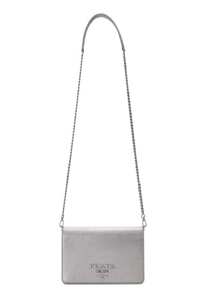 Silver Saffiano Leather Wallet-On-Chain (WOC), , large