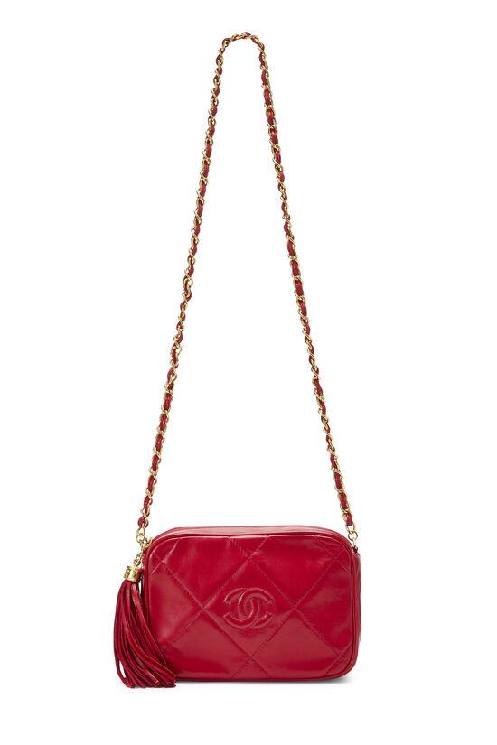 Red Lambskin Diamond 'CC' Camera Bag Mini, , large image number 6