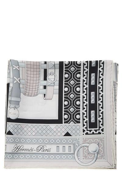 White & Multicolor 'Colliers de Chiens' Silk Scarf 90, , large