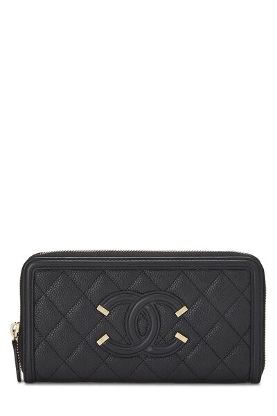 Black Quilted Caviar Filigree Zippy Wallet