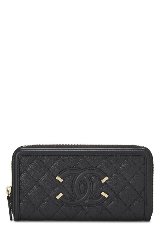 Black Quilted Caviar Filigree Zippy Wallet, , large image number 0