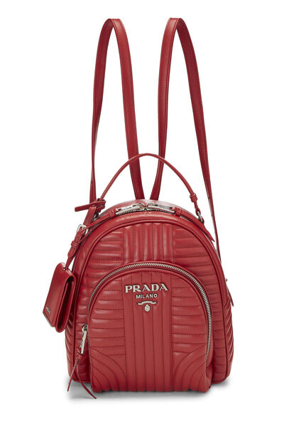 Red Calfskin Diagramme Backpack Small