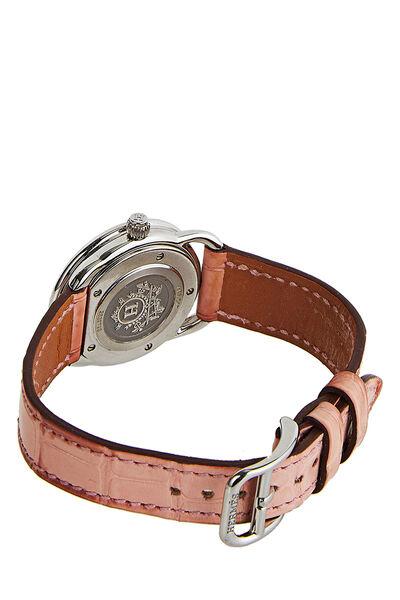 Hermes Pink Crocodile Arceau Chronograph TGM, , large