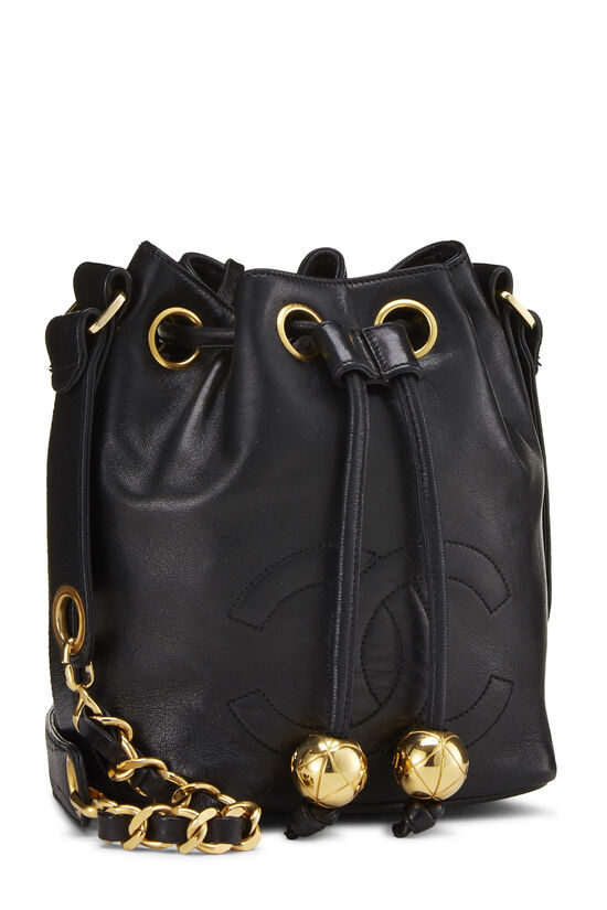 Black Lambskin 'CC' Bucket Bag Small, , large image number 2