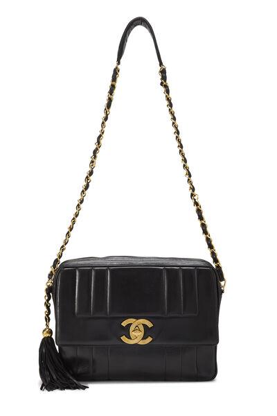 Black Vertical Lambskin Pocket Camera Bag Jumbo