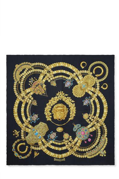 Black & Multicolor 'Kosmima' Silk Scarf 90