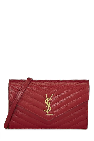 Red Grained Calfskin Envelope Wallet-On-Chain (WOC)