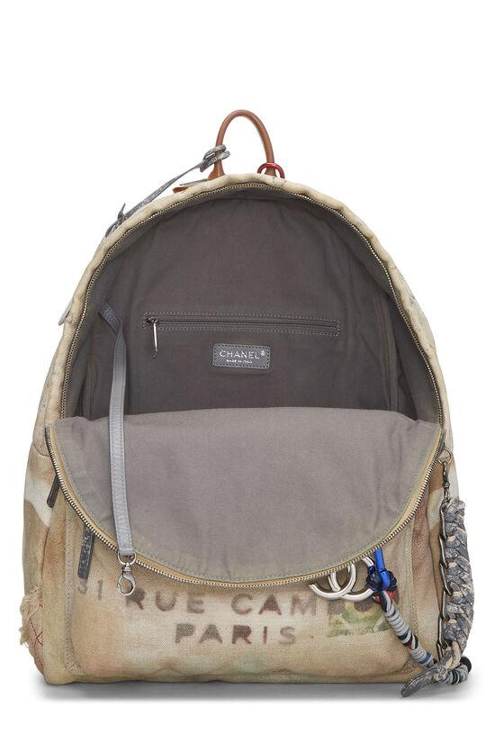 Beige Canvas Graffiti Backpack, , large image number 5