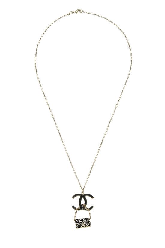 Gold & Black Enamel 'CC' Flap Bag Necklace, , large image number 0