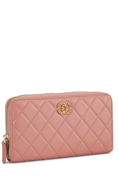 Pink Quilted Lambskin Zip Wallet, , large