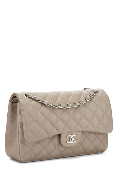 Grey Quilted Caviar New Classic Double Flap Jumbo, , large
