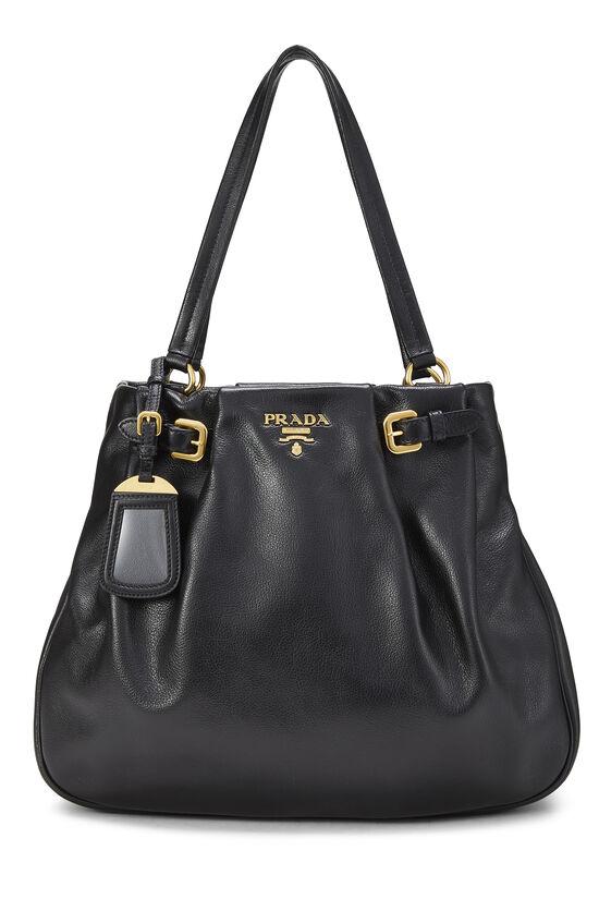 Black Leather Shoulder Bag Medium, , large image number 0
