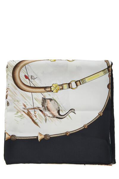 White & Multicolor 'Pampa' Silk Scarf 90, , large