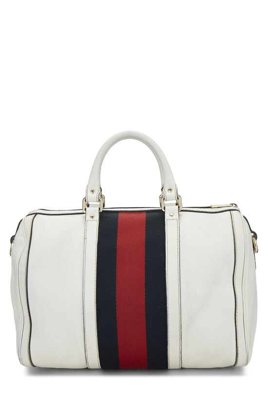 White Leather Web Boston Bag, , large image number 4