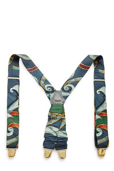 Blue & Multicolor Silk Motif Suspenders, , large