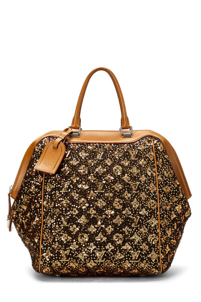 Brown Monogram Sequin Sunshine Express North-South Tote
