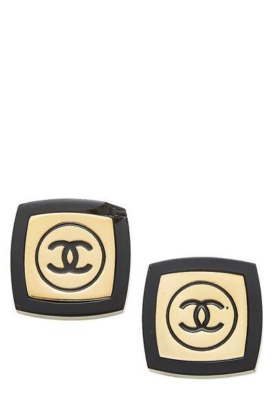 Gold & Black Enamel 'CC' Oversize Earrings