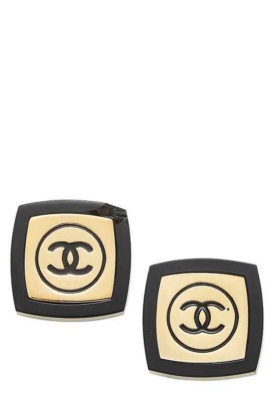 Gold & Black Enamel 'CC' Oversize Earrings, , large image number 0