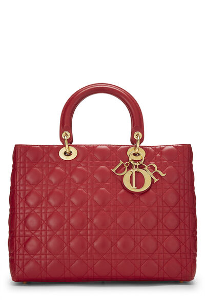Red Cannage Quilted Lambskin Lady Dior Large