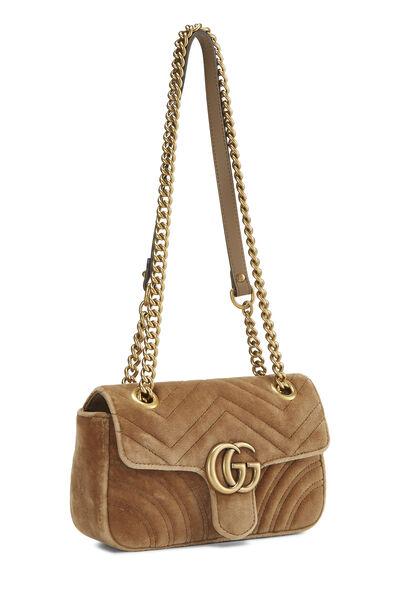 Tan Velvet GG Marmont Shoulder Bag Small, , large