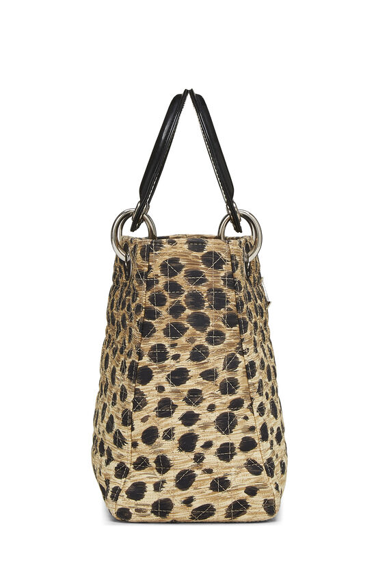 Brown Animal Print Cannage Quilted Nylon Lady Dior Medium, , large image number 2