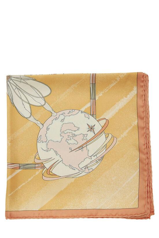 Orange 'Face Au Large' Silk Scarf 90, , large image number 1