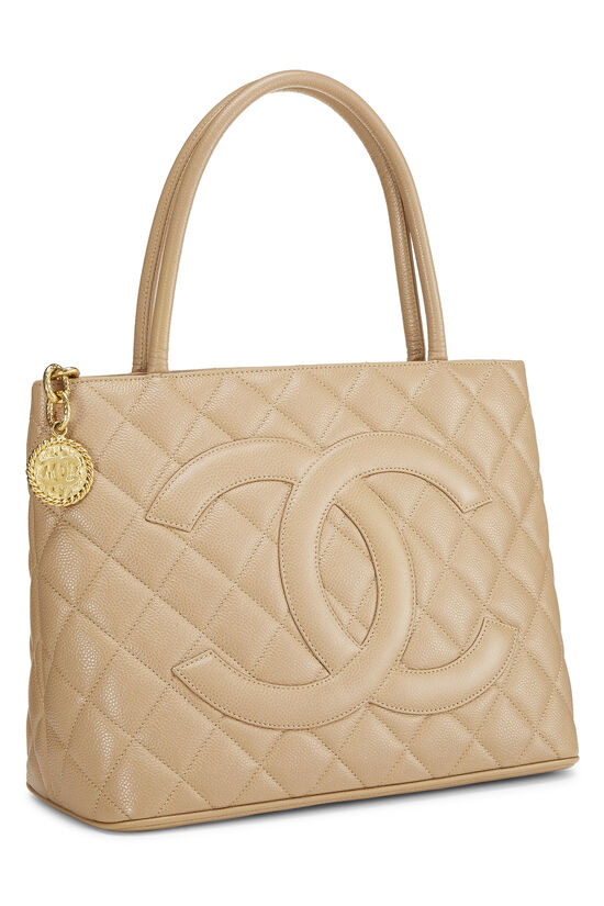 Beige Quilted Caviar Medallion Tote, , large image number 1