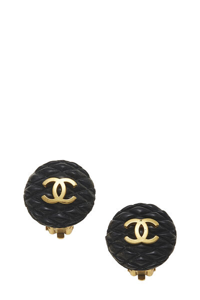 Black & Gold Quilted 'CC' Earrings