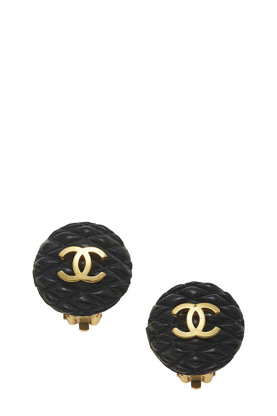 Black & Gold Quilted 'CC' Earrings, , large image number 0