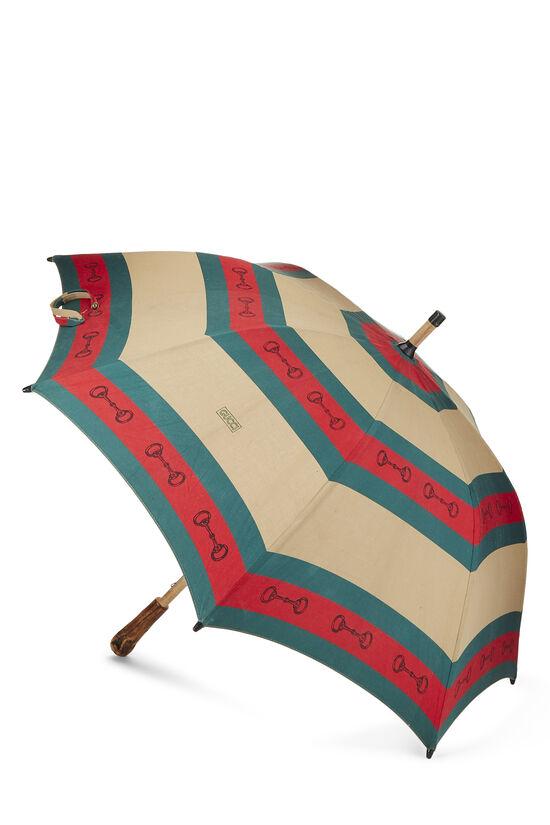 Brown & Web Striped Canvas Parasol, , large image number 1