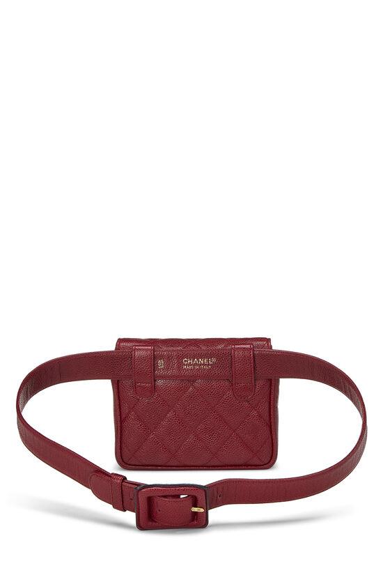 Red Quilted Caviar Envelope Belt Bag, , large image number 3