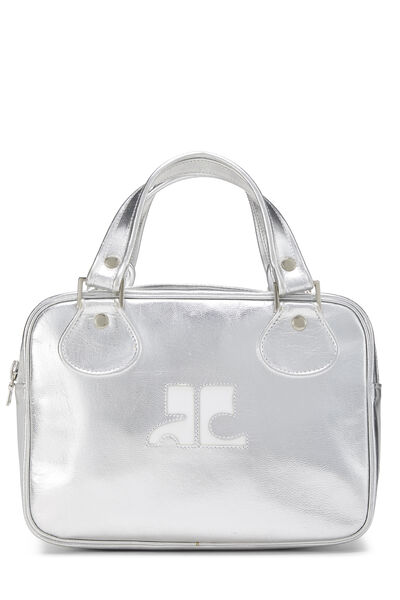 Metallic Silver Leather Logo Handbag Small