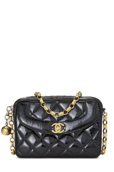 Black Quilted Patent Leather Pocket Camera Bag Mini