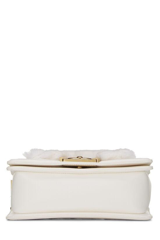 White Fur & Calfskin Boy Bag Small, , large image number 5
