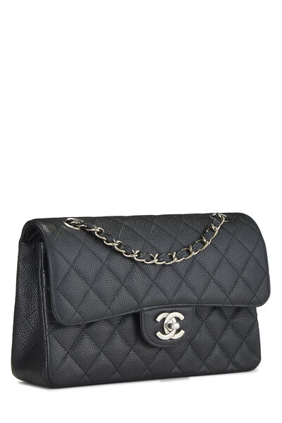 Black Quilted Caviar Classic Double Flap Small, , large