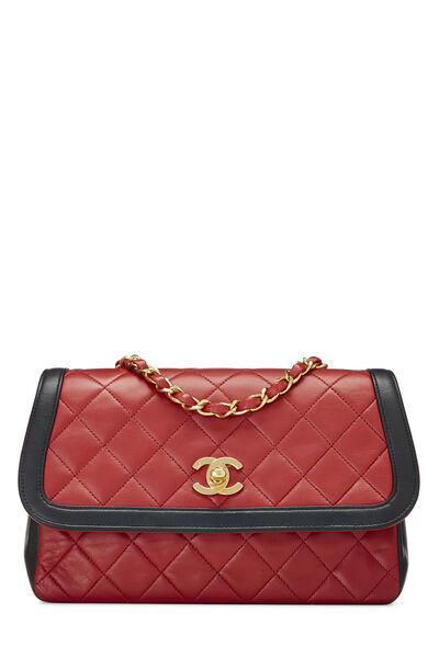 Red & Black Quilted Lambskin Curved Flap Small