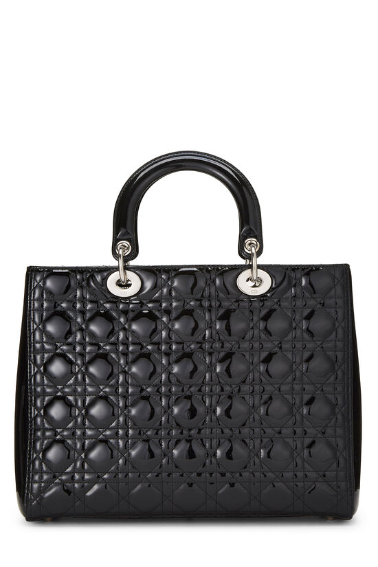 Black Cannage Quilted Patent Lady Dior Large, , large image number 3