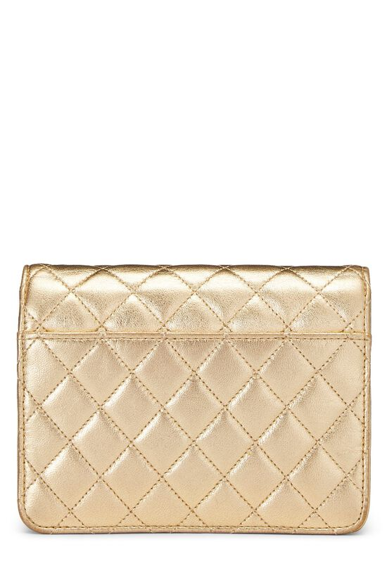 Metallic Gold Quilted Lambskin Half Flap Micro, , large image number 3