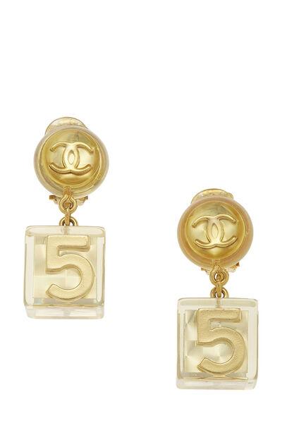Gold Acrylic No. 5 Cube Earrings